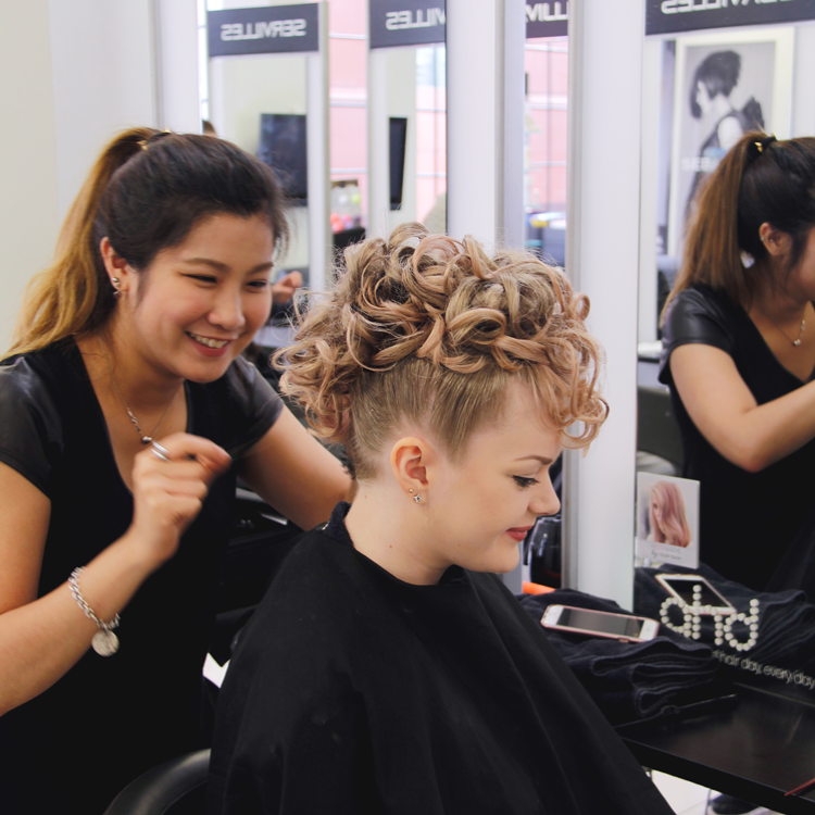 Creative hairstyle updo from Servilles Hair student
