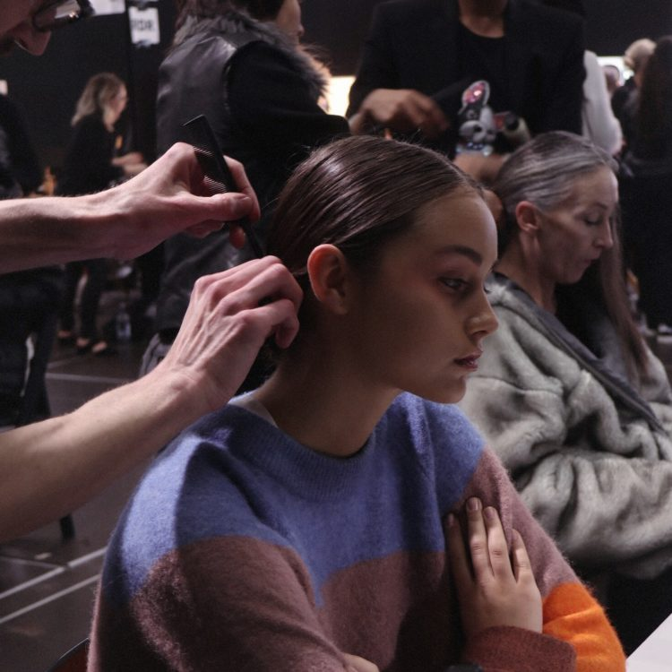 Hair models backstage at NZFW 2018