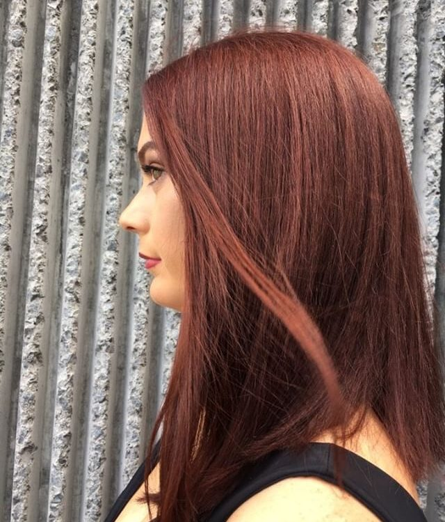 Model with freshly coloured hair