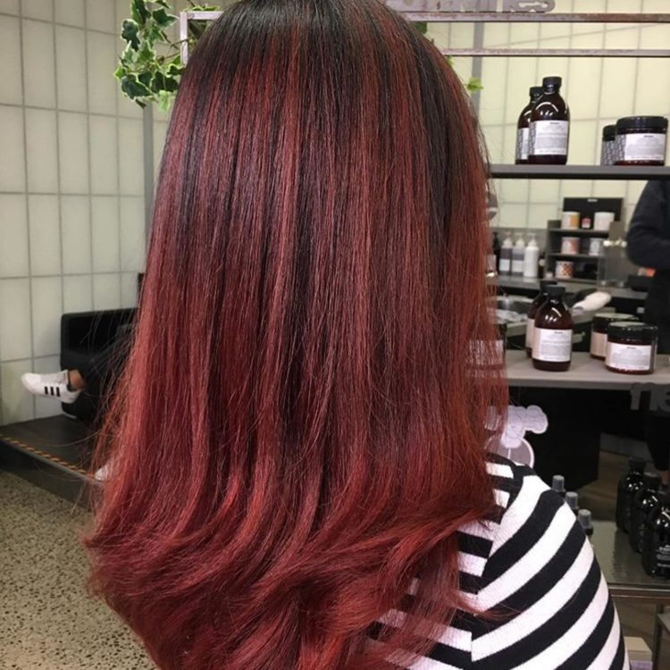 Red hair colour in Servilles Academy salon