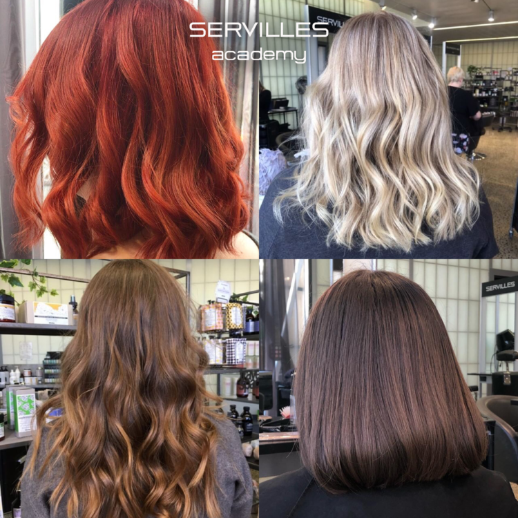 4 different hair colours in the Servilles Academy Salon