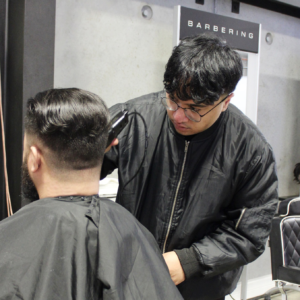 Servilles barbering student getting the fade right