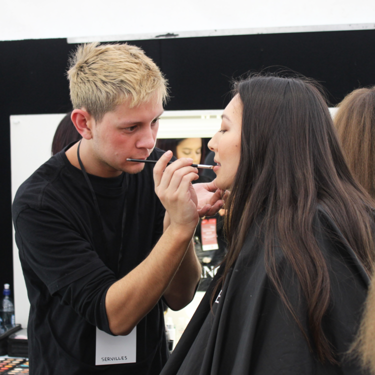 Male makeup student at NZFW2019