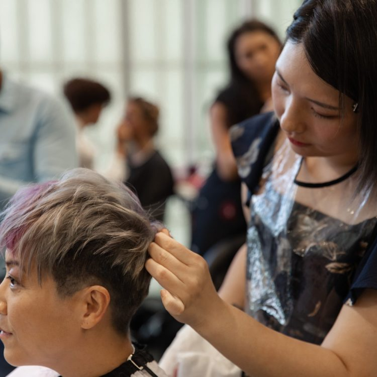 Hair student styles short grey and purple haircut